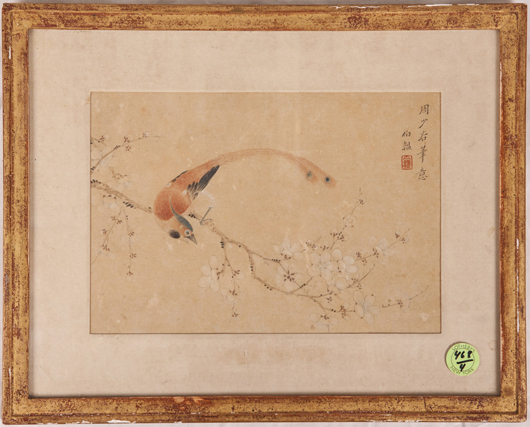 Chinese framed painting, Zhou Shaogu, 19th/20th century, 12 3/4 inches long. Estimate: $5,000-$7,500. Linwoods Auctions image.
