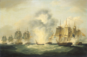 The painting 'Four frigates capturing Spanish treasure ships, 5 October 1804' by Francis Sartorius (1734-1804) depicts the sinking of the Nuestra Senora de las Mercedes. Image courtesy of Wikimedia Commons.