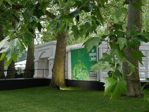 The Art Antiques London pavilion in Kensington Gardens, close to the famous Albert Memorial. Image courtesy Art Antiques London.