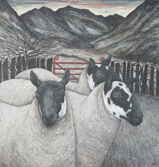 Seren Bell's 'Red Gate' - on view at The Fosse Gallery in Stowe on the Wold, Gloucestershire. Image courtesy of The Fosse Gallery.