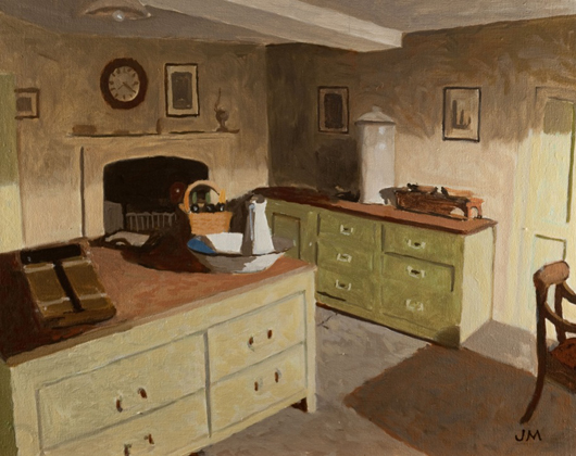 John Maddison's 'The Butler's Pantry', oil on canvas, part of the 'Still Life and Interiors' exhibition at the Jerram Gallery, Sherborne, Dorset until June 11. Image courtesy of the Jerram Gallery.