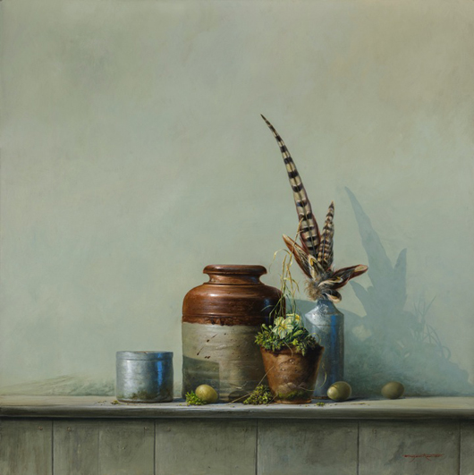 Brian Hanlon's 'Pots from an Old Garden Shed', acrylic on board, priced at £3,850 ($6,450) at the Jerram Gallery, Sherborne, Dorset until June 11. Image courtesy of the Jerram Gallery.