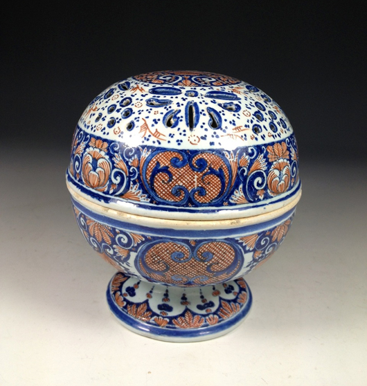 A rare Rouen faience sponge box, circa 1730, which will be on the stand of Paris-based ceramics dealer Christophe Perles at Art Antiques London in Kensington Gardens from June 11 to 18. Image courtesy Art Antiques London and Christophe Perles.