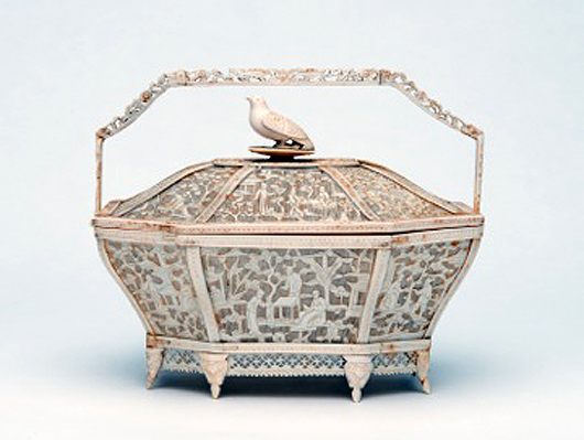 Gus Röell Fine Art of Maastricht will offer this ivory basket, China/Canton, circa 1810, at the Art Antiques London fair. The inside bears the initials of Wouter Karel Willem Senn van Basel (1781-1856). Image courtesy of Art Antiques London and Gus Röell.
