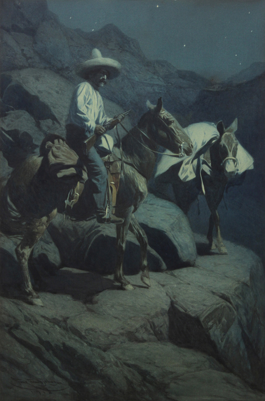 The second best performer of the sale was this watercolor by Frank Tenney Johnson (American, 1874-1939) titled 'A Mexican Smuggler' (1914). The exceptionally large work made $47,600. Clars Auction Gallery image.
