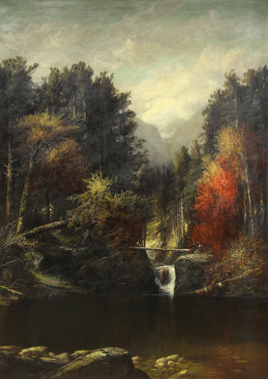 The largest painting ever to come to auction by Harrison Bird Brown (American, 1831-1915) also set a record for the artist. Titled, 'Picnic by the Falls (White Mountains, Maine),' this work achieved $23,800. Clars Auction Gallery image.