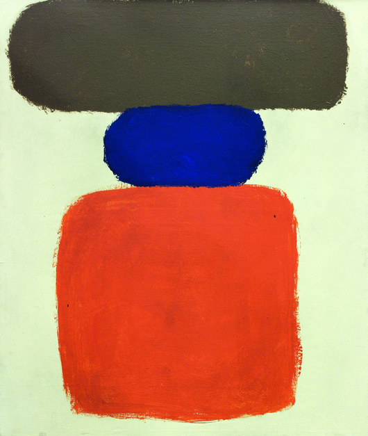 This Abstract Expressionist work by Ray Parker (American, 1922-1990) titled 'Untitled, Brown, Blue, Orange,' from 1960. With an estimate of $15,000 to $20,000, it rallied to a final price of $35,700. Clars Auction Gallery image.