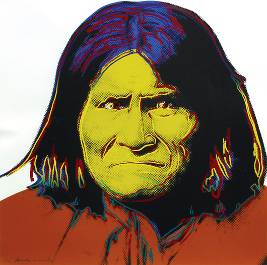"""Andy Warhol's 'Geronimo' (from the 'Cowboy and Indians' series)"""" galloped past its $15,000 to $20,000 estimate to settle at $24,000. Clars Auction Gallery image."""