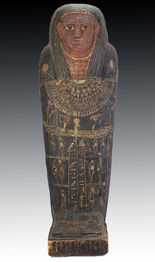 Lifesize Ancient Egyptian sarcophagus, Late Period, circa 712 to 332 BCE. Est. $75,000-$100,000. Image: Artemis Gallery LIVE