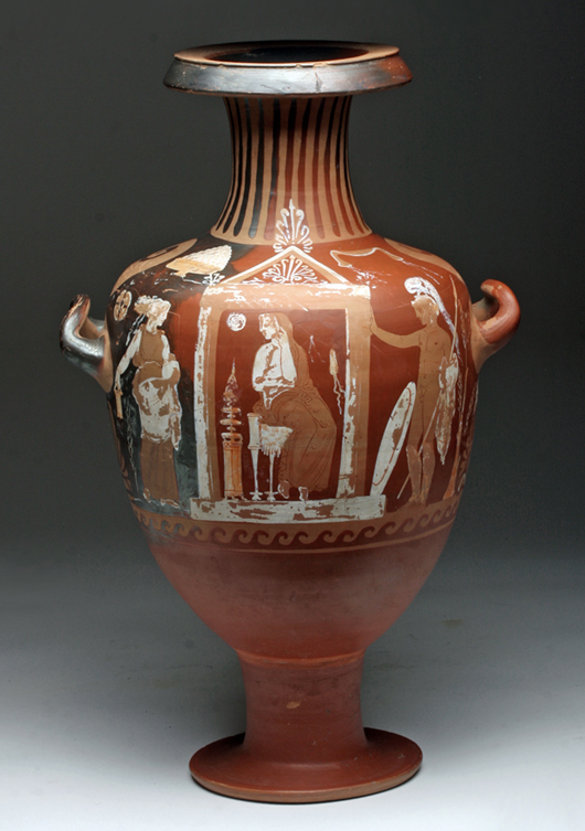 Greek Apulian red-figure hydria, southern Italy, circa 5th to 4th century BCE. Est. $12,000 to $15,000. Image: Artemis Gallery LIVE