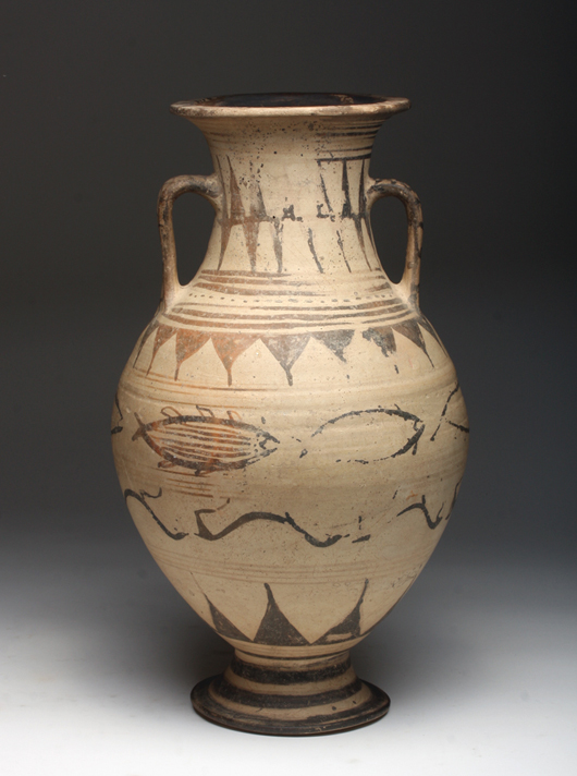 Large Etruscan pelike, fish and horse motif, northern Italy, circa 6th to 5th century BCE. Est. $6,000-$8,000. Image: Artemis Gallery LIVE
