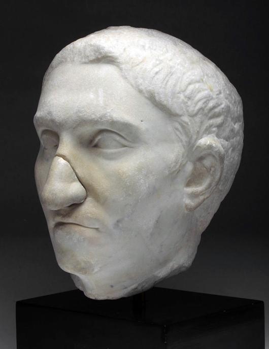 Roman marble portrait head of a patrician, ex museum collection, Julio-Claudian Period, circa 1st century CE. Est. $20,000-$30,000. Image: Artemis Gallery LIVE