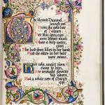 Illuminated manuscript of Dante Gabriel Rossetti's 'The Blessed Damozel' from the calligraphic master Albert Sangorski. Price realized: $30,000. PBA Galleries image.