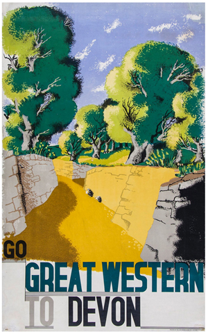 Edward McKnight Kauffer (1890-1954), 'Go Great Western to Devon,' GWR, lithograph in colors, 39 x 24 inches, 1932. Estimate: £600-£800 ($1,005-$1,340). Dreweatts & Bloomsbury Auctions image.