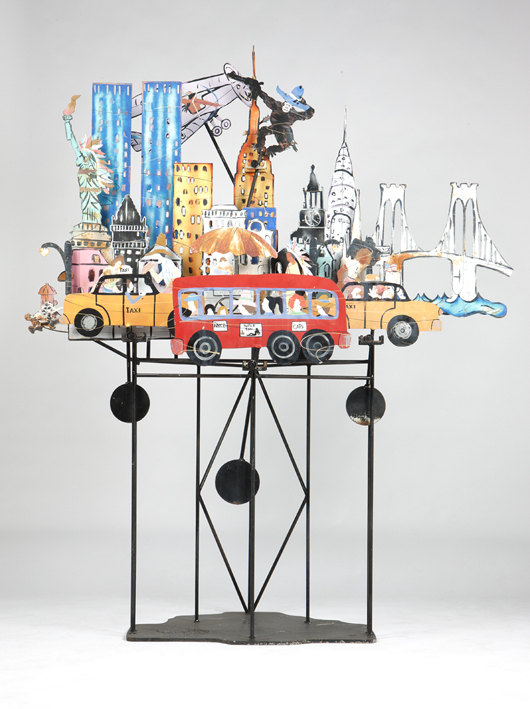 This amusing kinetic sculpture by Fredrick Prescott (b. 1949 New Mexico) is built with swiveling supports so that King Kong can wave from the Chrysler building. Estimate: $2,000-$3,000. John Moran Auctioneers image.