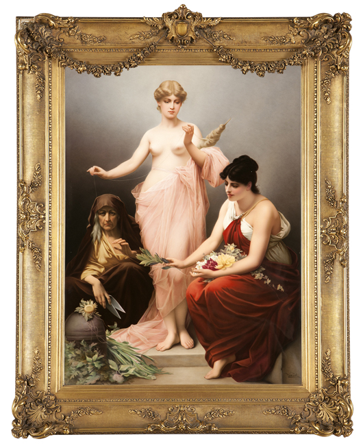 Offered for $10,000-$15,000, this large and magnificent Berlin / KPM porcelain plaque is painted with 'The Three Fates' after the German artist Friedrich Paul Thumann. John Moran Auctioneers image.
