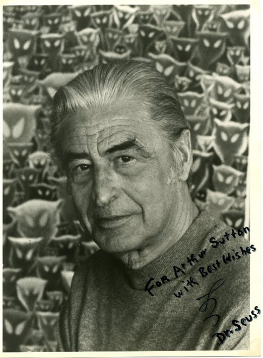 Dr. Seuss (Theodore Seuss Geisel) autographed photo. Image courtesy of LiveAuctioneers.com archive and Max Rambod Inc.