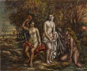 Lotto 44, Giorgio De Chirico, 'Le Bagnanti,' 1946, Olio su tela, cm 40X50. Stima €40.000-50.000. Courtesy Wannenes.