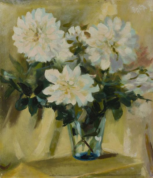 Lotto 89, Giacomo Balla, 'Dalie bianche nel vaso,' anni '30, Olio su tavola, cm 65X56. Stima €22.000-26.000. Courtesy Wannenes.