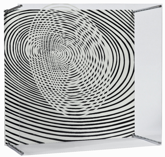 Lotto 12, Jesus-Rafael Soto, 'Spirales,' 1967, (dalla serie Sotomagie), plexiglass dipinto e aste di metallo, cm 34X34X18, Es. 18/100. Stima €5.000-7.000. Courtesy Wannenes.