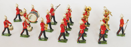 The elusive Britains Royal Marine Light Infantry Band, boxed (not shown), estimate $12,000-$15,000. Old Toy Soldier Auctions image
