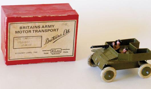 Unique boxed Britains Set 1204 Terrain Terrier, estimate $3,000-$5,000. Old Toy Soldier Auctions image