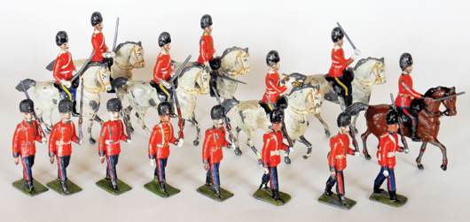 Britains Germanic-style Royal Scots Greys, estimate $12,000-$15,000; and Royal Fusiliers, $7,000-$9,000, as pictured on the cover of James Opie's 'Great Book of Britains.' Old Toy Soldier Auctions image