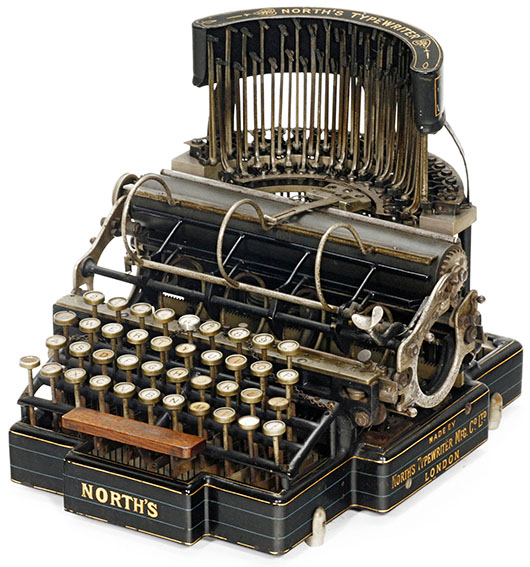 Well-preserved example of the 1892 North's Typewriter. Price realized: 9,200 euros ($13,000). Auction Team Breker image.