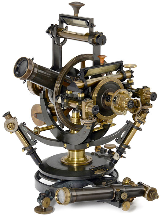 Complex late 19th century theodolite with accessories and outfit case by Hildebrand of Freiburg. Price realized: 12,300 euros ($17,000). Auction Team Breker image.