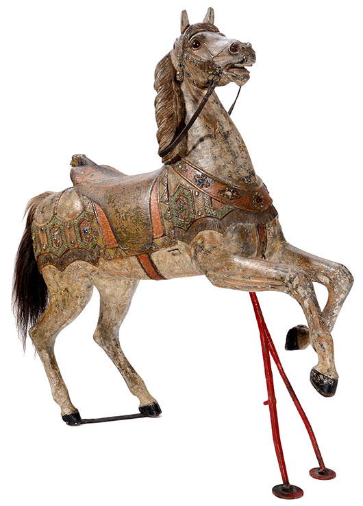 Full-size dappled carousel horse by Friedrich Heyn of Neustadt. Price realized: 12,300 euros ($17,000). Auction Team Breker image.