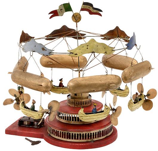 Clockwork airship carousel by Müller & Kadeder of Nuremberg. Price realized: 5,400 euros ($7,400). Auction Team Breker image.