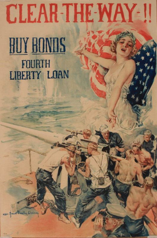 Howard Chandler Christy (1873-1952), 'Clear the Way Buy Bonds Fourth Liberty Loan,' original poster No 10-B printed by Forbes, Boston, circa 1918, 76 x 51 cm. Estimate £300-400. Onslows image.
