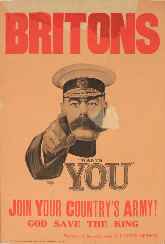 'Britons (Lord Kitchener) Wants You,' original poster printed by Victoria House Printing Co., circa 1914, 75 x 51 cm. Considered to be the Holy Grail of historic British posters, this poster is being offered at auction for the first time since 1983. Estimate: £10,000-15,000. Onslows image.