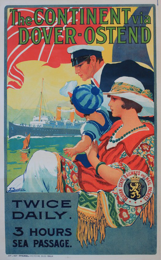F Sentrein (Belgian dates not known), 'The Continent via Dover-Ostend Twice Daily,' original poster printed for Belgian State Railways and Mail Packets by D. Hobel Bruxulles, 100 x 65 cm. Estimate: £1,000-1,500. Onslows image.