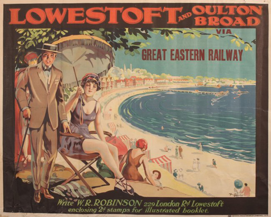 F. Quinny, 'Lowestoft and Oulton Broad via Great Eastern Railway,' original poster printed by Haycock Cadle & Graham, circa 1915, 102 x 127 cm. Estimate: £2,500- 3000. Onslows image.