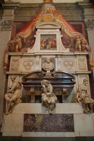 Michelangelo's tomb in the Basilica of Santa Croce. Photo by Melissa Ranier, courtesy of Wikimedia Commons.