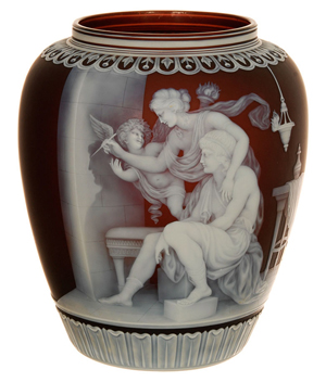 This signed Thomas Webb & Sons finely carved English cameo art glass vase soared to $260,000. Woody Auction image.