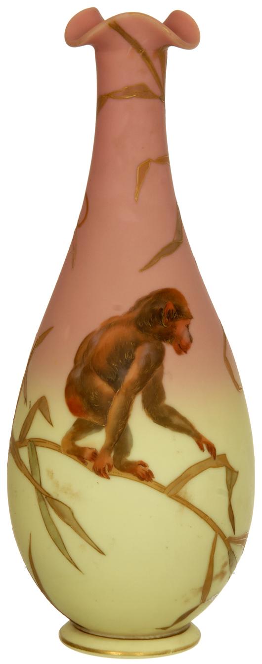 Mount Washington decorated Burmese 'Monkeyvase' with monkey and ape decor, bamboo background. Price realized: $18,000. Woody Auction image.