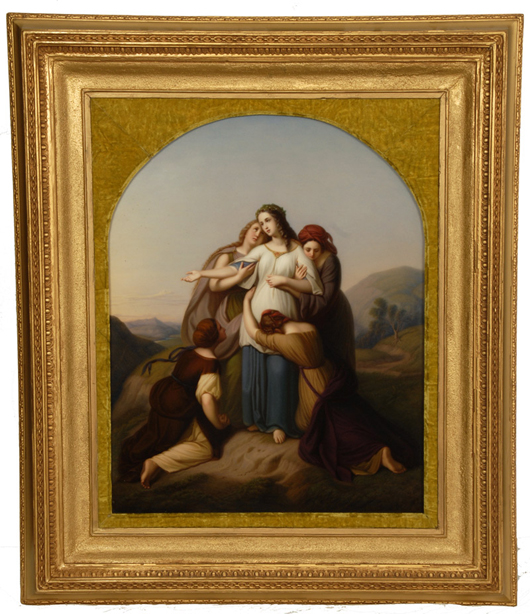 Magnificent and large KPM porcelain plaque depicting 'The Sacrifice of Jephthah's Daughter.' Price realized: $15,000. Woody Auction image.