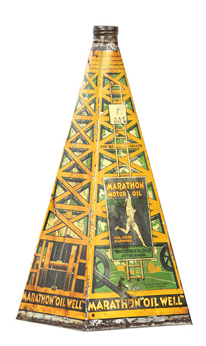 This pyramid-shaped tin lithographed can is hand-soldered. It probably was made before 1940. It sold for $4,830 at a William Morford auction in Cazenovia, N.Y., in March.