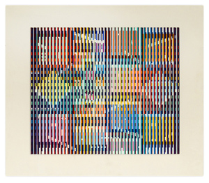 Yaacov Agam (Israeli, born 1928), 'Paris Memory,' verso signed, titled and inscribed '1969-1982,' acrylic on aluminum corrugated panel, 21 inches x 17 3/4 inches. Estimate: $40,000-$60,000. Auction Gallery of the Palm Beaches Inc. image.