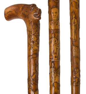 Important folk art carved patriotic cane of exceptional quality attributed to Zachariah S. Robinson (Virginia/Illinois, 1806-1873). Jeffrey S. Evans & Associates.