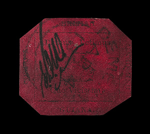The rare British Guiana One-Cent Magenta, the world's most famous stamp, sold Tuesday for a record $9.5 million in New York. Image courtesy of Sotheby's