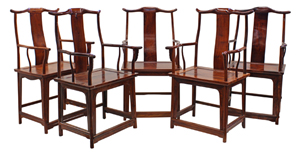 This lot of five Chinese hardwood and huanghuali official's hat armchairs achieved the event's highest price of $143,800 against its high estimate of $40,000. Clars Auction Gallery image.