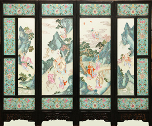 Large 19th century Chinese porcelain screen with four Famille Rose panels, mounted in a carved wooden frame. Price realized: $126,900. Elite Decorative Arts image.