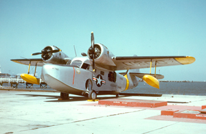 A similar Grumman JRF-5G pictured at the Coast Guard Air Station San Francisco in September 1951. Image by Bill Larkins. This file is licensed under the Creative Commons Attribution-ShareAlike 2.0 Generic License.
