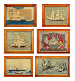 This group of six sailors' woolwork pictures, each in its original maple frame, was discovered during a house call to an old forester's cabin in the New Forest, Hampshire, England. They were sold by Mitchells auctioneers in Cockermouth.