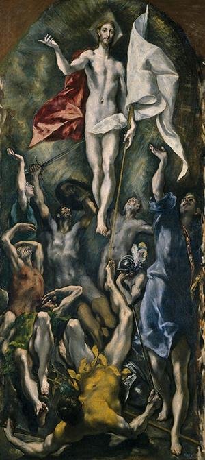 'La Resurrección de Cristo,' El Greco, oil o canvas, 275 x 127 cm, 1597-1600. Image courtesy of Museo Nacional del Prado.