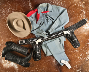 Clayton Moore, famed for his TV depiction of The Lone Ranger, wore this outfit to public appearances after his retirement from the TV role that brought him fame. The outfit sold to a Texas bidder for $195,000 at A & S Auctions on July 12, 2014. Image courtesy of A & S Auctions