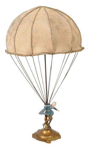Richard W. Lange for Rosenthal und Maeder, 'Parachute Lady' Art Deco table lamp. Estimate: £6,000-£8,000. Dreweatts & Bloomsbury Auctions image.